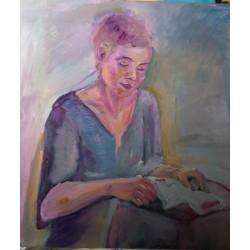 Jeune fille lisant 50*50cm