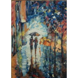 Rue marchande sous la pluie